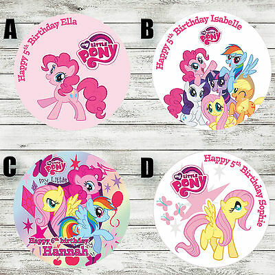 """My Little Pony 7.5"""" Round Edible Birthday Cake Topper Decoration Personalised"""