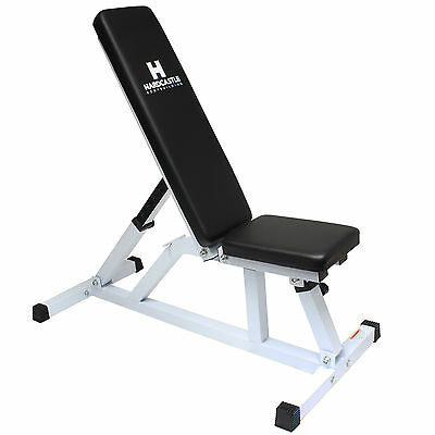 Hardcastle White Adjustable Flat/Incline Weight Bench Home Gym Dumbbell Workout