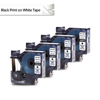 4PK Black on White Label Tape 1/2'' For DYMO D1 45013 LabelManager 450 S0720530