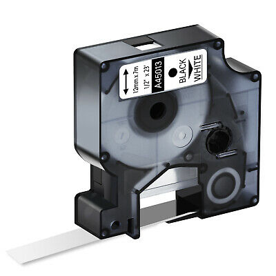 1PK Black on White Label Tape 1/2'' For DYMO D1 45013 LabelManager 450 S0720530