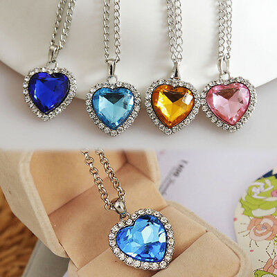 Fashion Crystal Full Rhinestones Titanic Heart of Ocean Necklaces Jewelry Gift