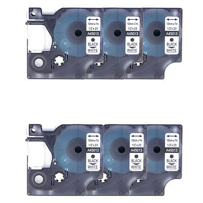6PK Black on White Label Tape 12mm Compatible For DYMO D1 45013 LabelManager