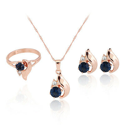 New blue 18K Gold plated women wedding pendant necklace earring ring jewelry set