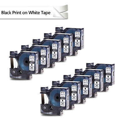 10PK Black on White Label Tape 12mm Compatible For DYMO D1 45013 LabelManager
