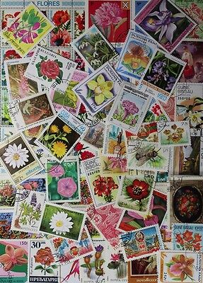 FLOWERS and Flora on stamps, nice collection, 100 different stamps (lot#DP)