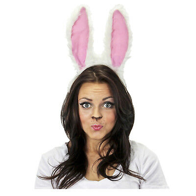 Moveable Voice Activated Rabbit Bunny Ears Costume Accessory Prop White Easter