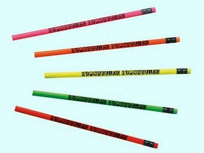 5 Neon Colored Gymnastics Pencils - Cool Party Favors - PRICE REDUCED WAS $3.95!