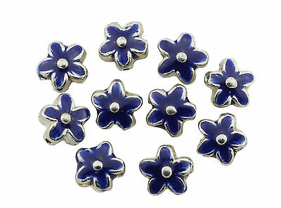 Enamelled Blue Silver Metal Flower Beads 15x6mm Pack of 10 (D13/5)