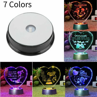 7-LED Colorful Light Round Rotating Crystal Display Base Stand Holder Decoration