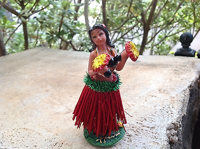 "New Hawaiian  Dashboard Hula Doll Dancer Girl Posing Red Skirt 4"" tall."