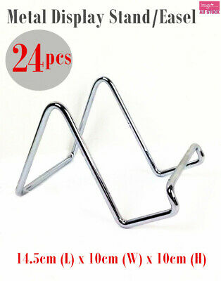 """24 x Metal Display Plate Stand Holder 4"""" Smooth Surface Chrome Plated HX1062C"""
