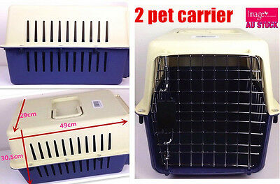 2 Pet Carrier Airline Approved Dog Cat Portable Crate Kennel Travel Carry Bag YW