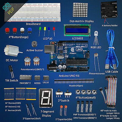 New Super Starter Kit for Arduino UNO R3 Compatible LCD1602 Breadboad DC Motor