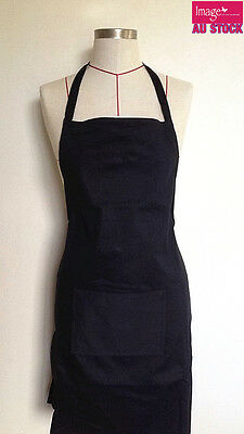 Plain Black Apron Cotton Washable Kitchen Cooking Butchers Craft Pocket APN24BLK