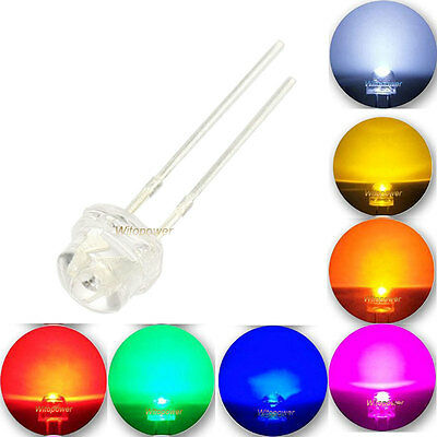 100pcs 5mm LED Straw hat Lamp White Warm Red Green Blue Amber Purple Wide Angle
