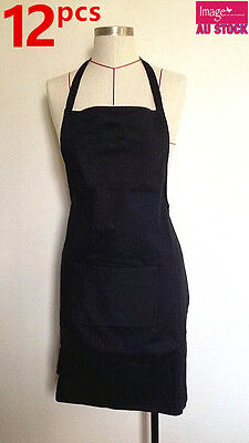 12x HIGH QUALITY 100% Thick Cotton Black Apron w Craft Pocket Wholesale Bulk Lot