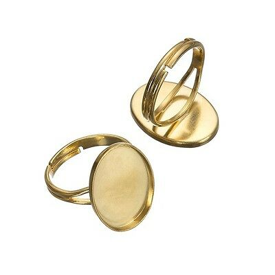 Cabochon Adjustable Ring Bases Gold Plated Oval 14x20mm Pack of 2 (G96/3)