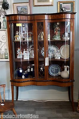Edwardian Inlaid Mahogany Serpentine Fronted Display Cabinet