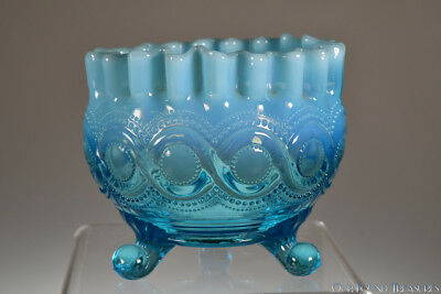 SCARCE c. 1906 BEADED CABLE by Northwood BLUE OPALESCENT Footed Nut Dish