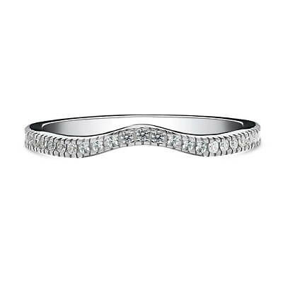 BERRICLE Sterling Silver CZ V Shaped Wedding Curved Half Eternity Band Ring