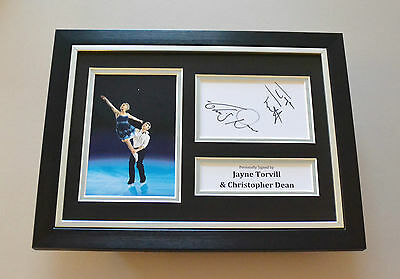 Jayne Torvill & Christopher Dean Signed A4 Photo Framed Autograph Display + COA