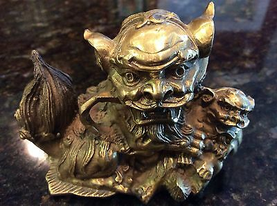 Vintage Mini Bronze Foo Dog Lion Great Detail Bronze Paper Weight