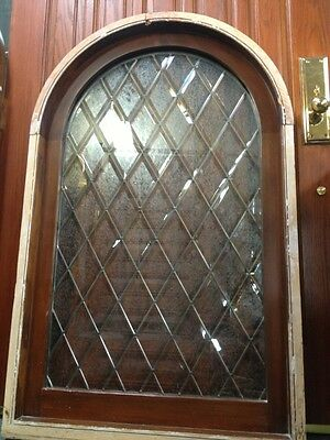 """Arched Spanish  Style Leaded Etched  Glass Window In Frame 48x30"""" Double Pained"""