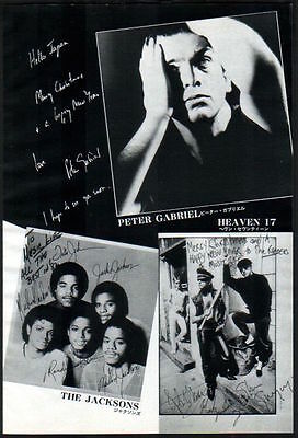 1982 Peter Gabriel Heaven 17 The Jacksons JAPAN mag photo pinup /clipping p02m