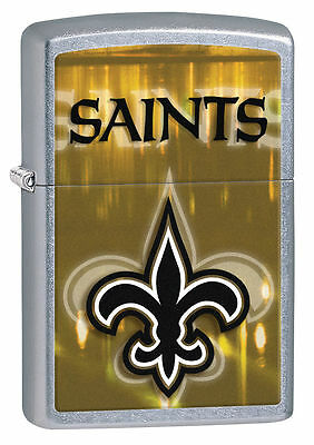 Zippo Street Chrome Lighter With New Orleans Saints Logo, 28609, New In Box