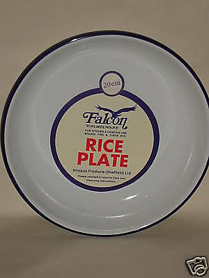 New White Falcon Enamel Round Pie Rice Plate Baking Dish Tin 20cm