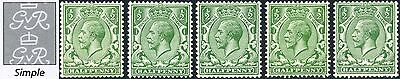 1912-24 KGV Royal Cypher ½d Concise Shades SG 351, 352, 353, 354, 356
