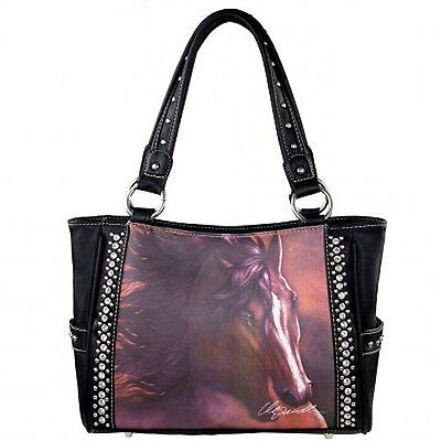 HORSE & WESTERN LADIES WOMENS MONTANA WEST LAURIE PRINDLE HORSE ART HANDBAG e