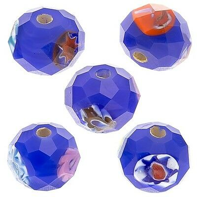 Blue Faceted Rondelle Millefiori Glass Beads 10mm Pack of 5 (D29/3)