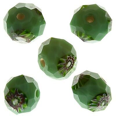 Green Faceted Rondelle Millefiori Glass Beads 10mm Pack of 5 (D30/4)