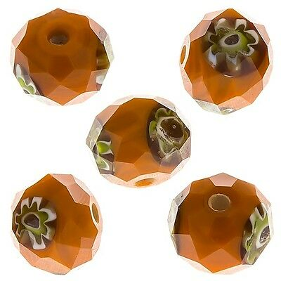Orange Faceted Rondelle Millefiori Glass Beads 10mm Pack of 5 (D30/5)