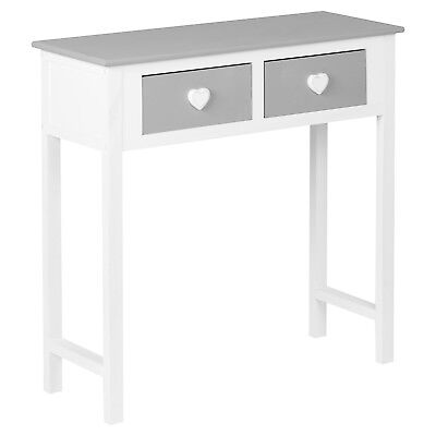 Hartleys White & Grey 2 Drawer Heart Dressing/console Side Table/girls Bedroom