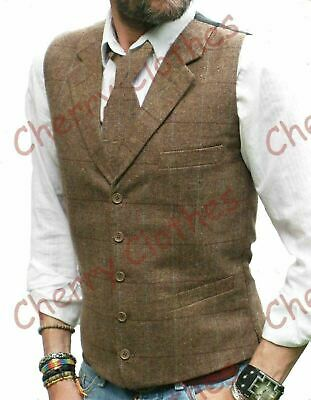Mens Wool Blend Tweed Brown Tailored Fit Check Lapel Collar Waistcoat Vest