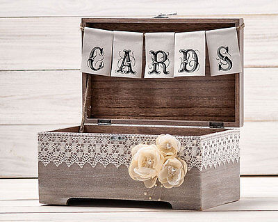 Wedding Rustic Card Box Holder with Burlap and Lace Cards Banner