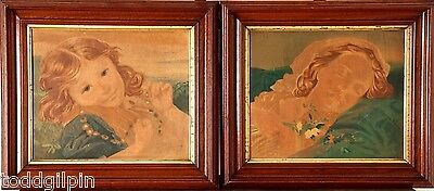 Pair of Antique Portraits of a Girl, Early 20th C, O/B, Orig. Walnut Gilt Frames