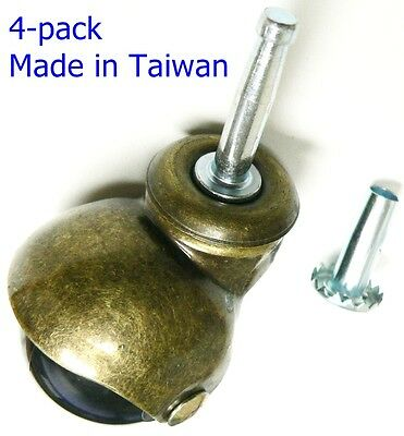 "Oajen 2"" antique brass PVC ball caster, socket stem, 4 pack, sockets included"