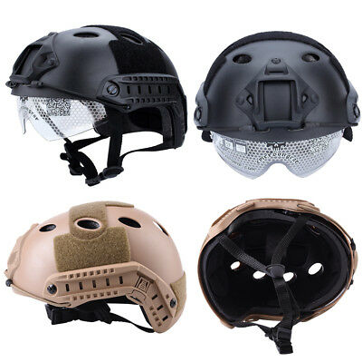 New Tactical Airsoft Paintball Climbing Protective SWAT Fast Helmet With Goggle