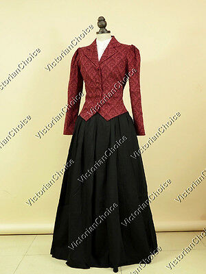 Victorian Vintage Vampire Dress Theater Women Reenactment Halloween Costume 166