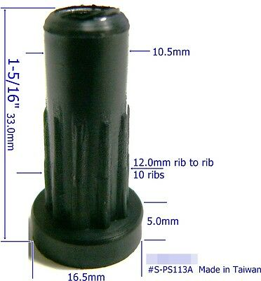 "Oajen S-PS113A caster socket furniture insert for 5/16"" x 1-1/2"" stem, 4-pack"