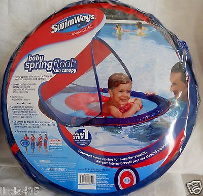 Swimways Swim Step 1 Baby Spring Float Sun Canopy Ages 9-24 Mos Blue Red Mesh