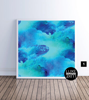 Addison Blue Watercolour Art Print Luxe Collection, Print Poster or Canvas