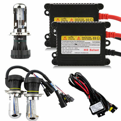 55W Bi-Xenon HID Conversion Kit Lamp Blub Ballast Hi/Low Beam H4(H4-3) DC 6000K