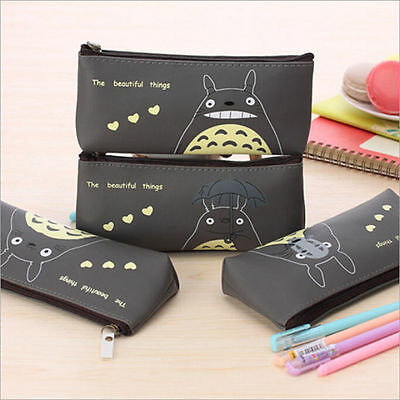 Totoro Leather Makeup Cosmetic Zipper Purse Stationery Pencil Pen Bag Case New