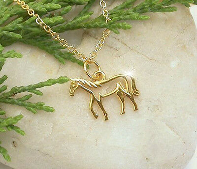 HORSE & WESTERN JEWELLERY JEWELRY 22 ct GP  925 STERLING SILVER  HORSE NECKLACE