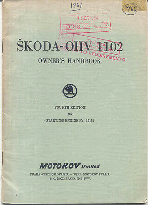 Skoda 1102 OHV 1951 Original Owner's Handbook From Engine No 16151