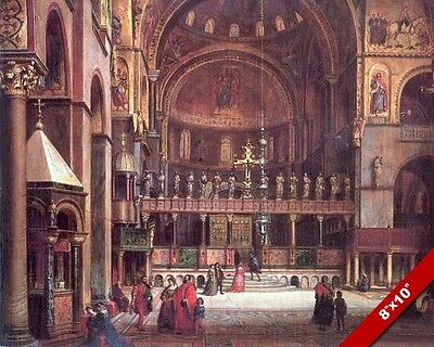 ST MARKS BASILICA CATHEDRAL CHURCH VENICE ITALY PAINTING ART REAL CANVAS PRINT